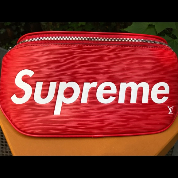 94f317e1dda louis vuitton x Supreme Bags   Supreme X Lv Bam Bag Red Waist Bag ...